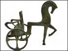 BRONZE CHARIOT WITH HORSE